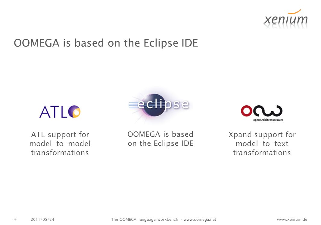 www.xenium.de OOMEGA is based on the Eclipse IDE 2011/05/24The OOMEGA language workbench - www.oomega.net4 OOMEGA is based on the Eclipse IDE ATL support for model-to-model transformations Xpand support for model-to-text transformations