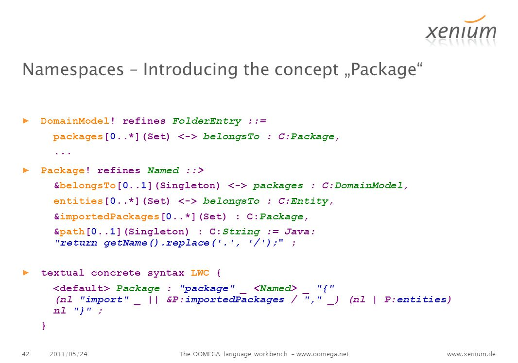 "www.xenium.de Namespaces – Introducing the concept ""Package ▶ DomainModel."