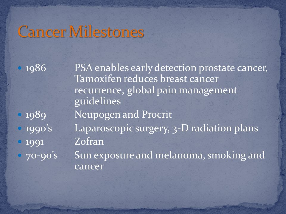 1986 PSA enables early detection prostate cancer, Tamoxifen reduces breast cancer recurrence, global pain management guidelines 1989 Neupogen and Procrit 1990's Laparoscopic surgery, 3-D radiation plans 1991 Zofran 70-90's Sun exposure and melanoma, smoking and cancer