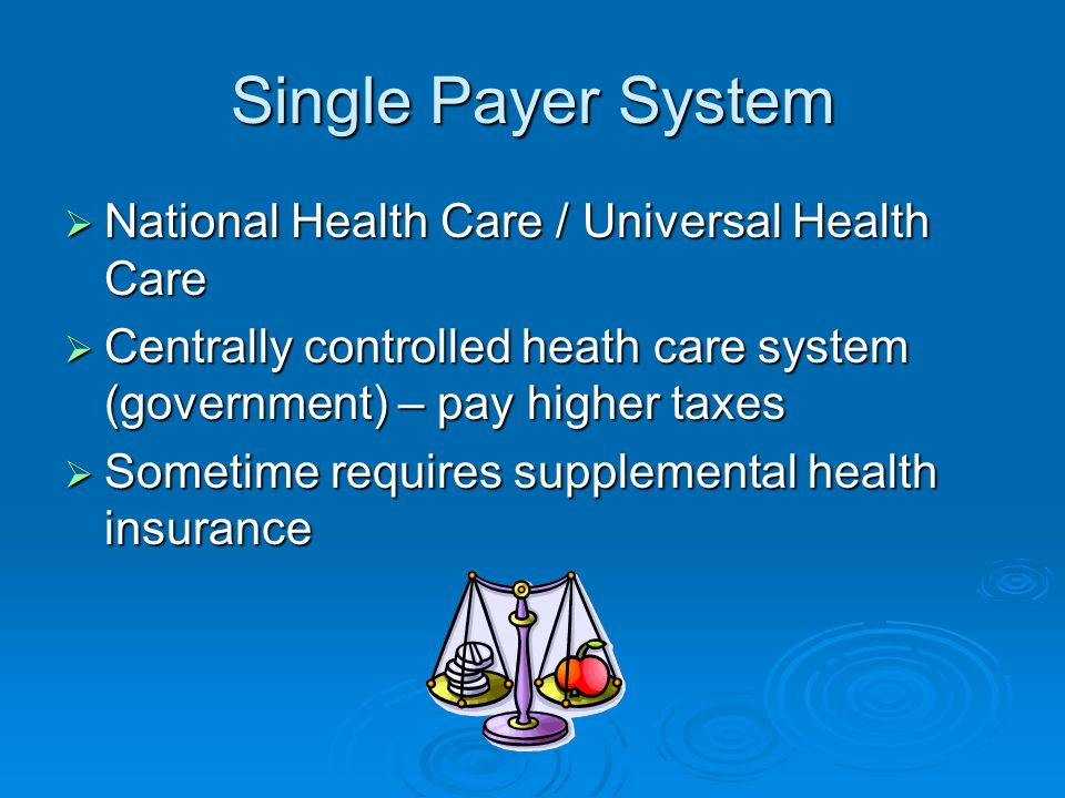 Single Payer System  National Health Care / Universal Health Care  Centrally controlled heath care system (government) – pay higher taxes  Sometime requires supplemental health insurance