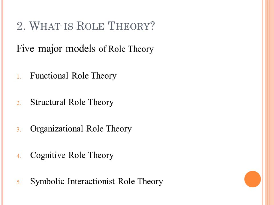 2. W HAT IS R OLE T HEORY . Five major models of Role Theory 1.