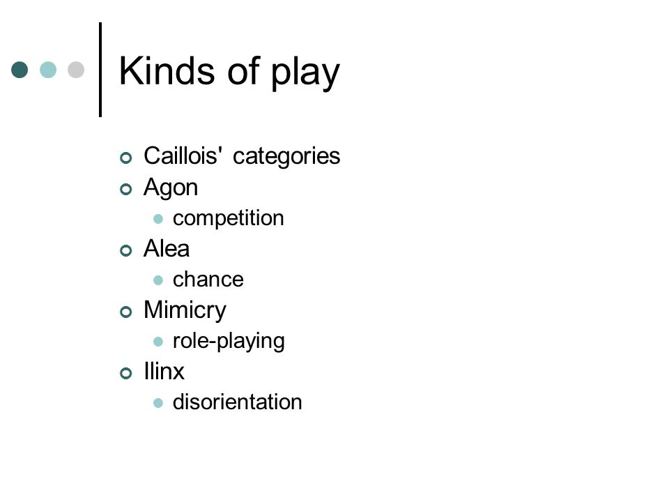Kinds of play Caillois categories Agon competition Alea chance Mimicry role-playing Ilinx disorientation