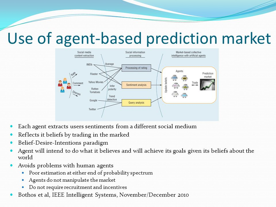 Use of agent-based prediction market Each agent extracts users sentiments from a different social medium Reflects it beliefs by trading in the marked Belief-Desire-Intentions paradigm Agent will intend to do what it believes and will achieve its goals given its beliefs about the world Avoids problems with human agents Poor estimation at either end of probability spectrum Agents do not manipulate the market Do not require recruitment and incentives Bothos et al, IEEE Intelligent Systems, November/December 2010