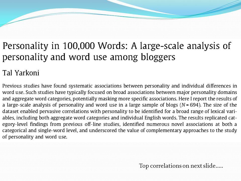 Top correlations on next slide.....