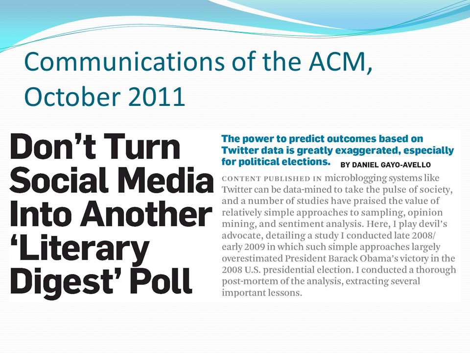 Communications of the ACM, October 2011