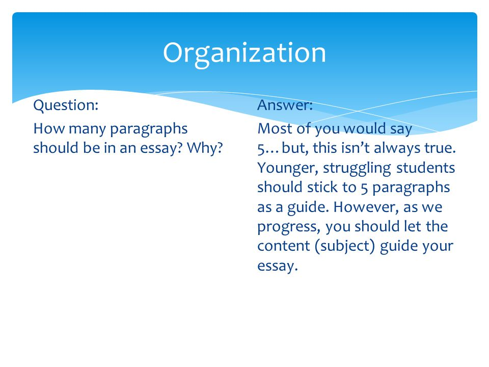 Organization Question: How many paragraphs should be in an essay? Why? Answer: Most of you would say 5…but, this isn't always true. Younger, strugglin