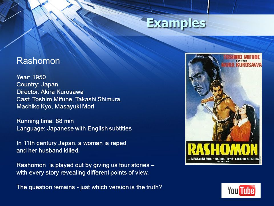 Examples Rashomon Year: 1950 Country: Japan Director: Akira Kurosawa Cast: Toshiro Mifune, Takashi Shimura, Machiko Kyo, Masayuki Mori Running time: 88 min Language: Japanese with English subtitles In 11th century Japan, a woman is raped and her husband killed.