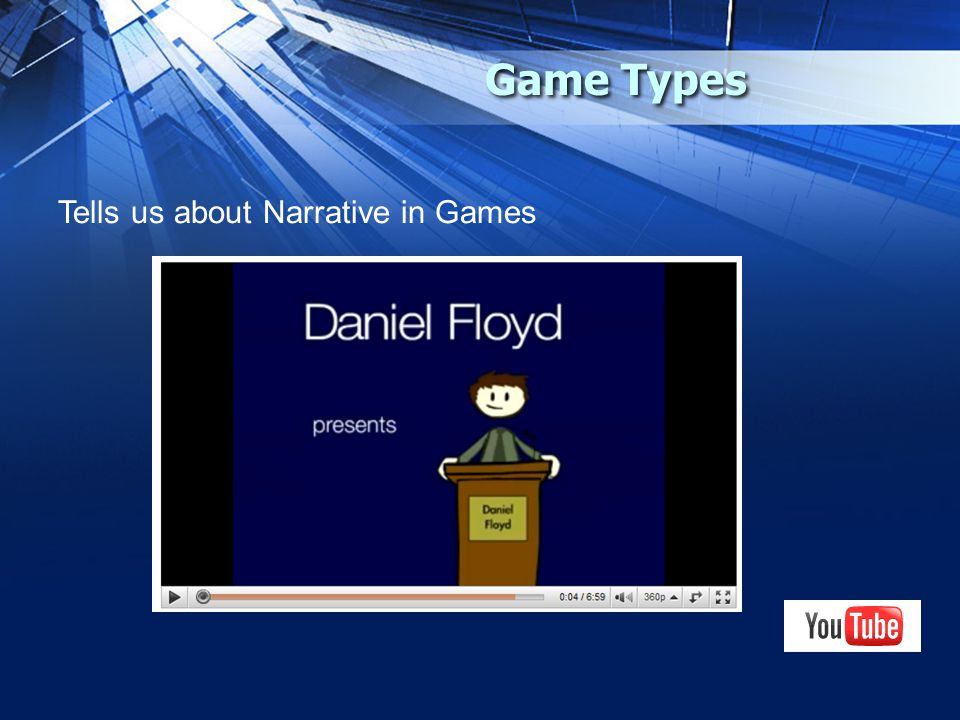 Game Types Tells us about Narrative in Games