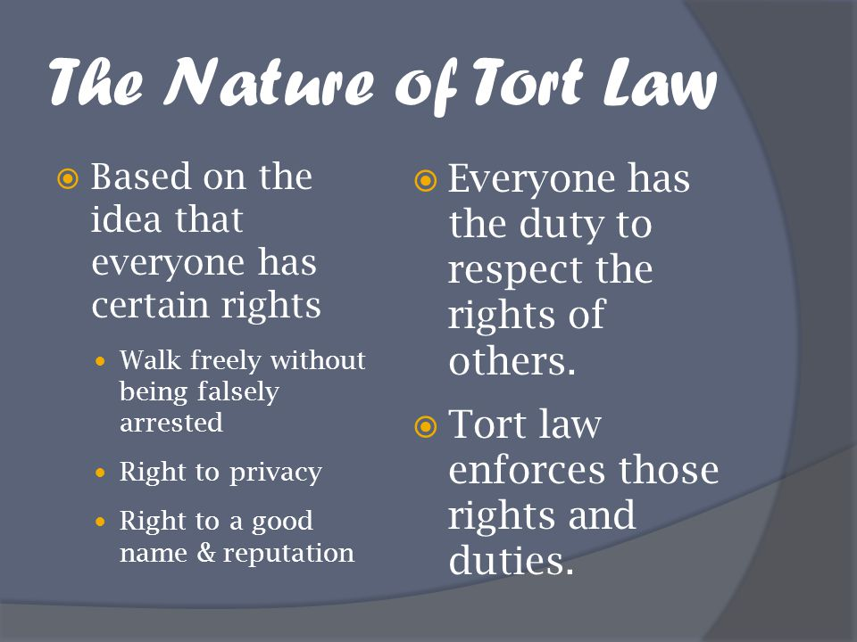 What is a tort?  A private wrong committed by one person against another.