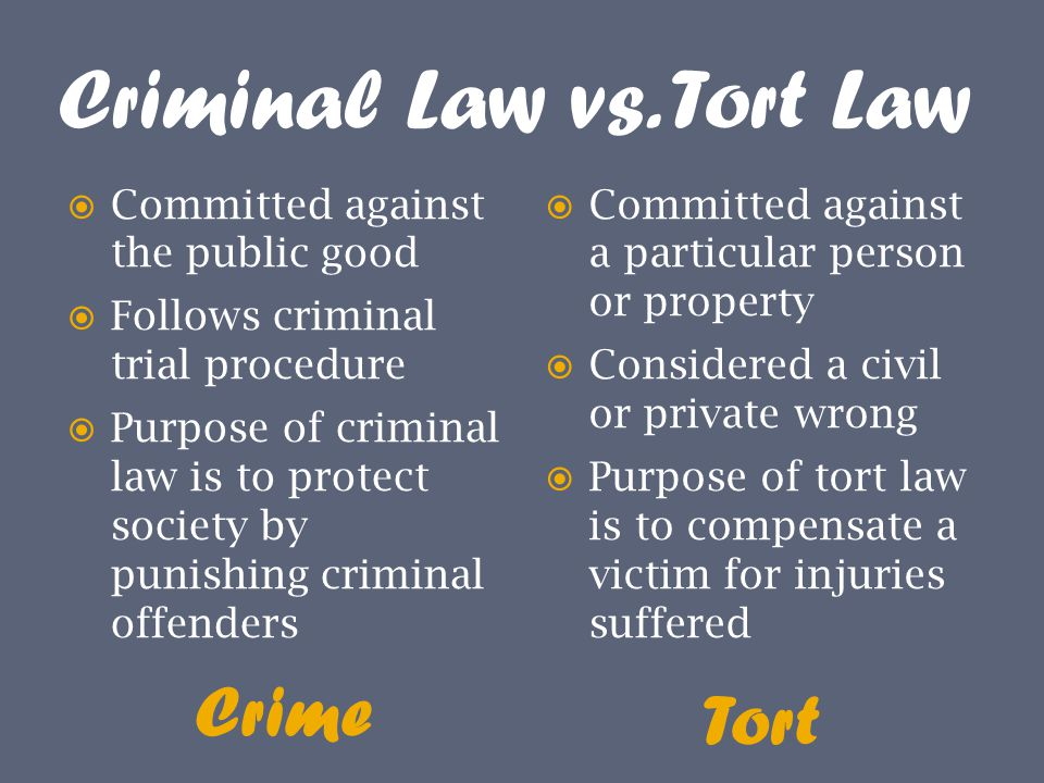 Criminal Law vs. Tort Law Crime Tort  Committed against the public good  Follows criminal trial procedure  Purpose of criminal law is to protect so