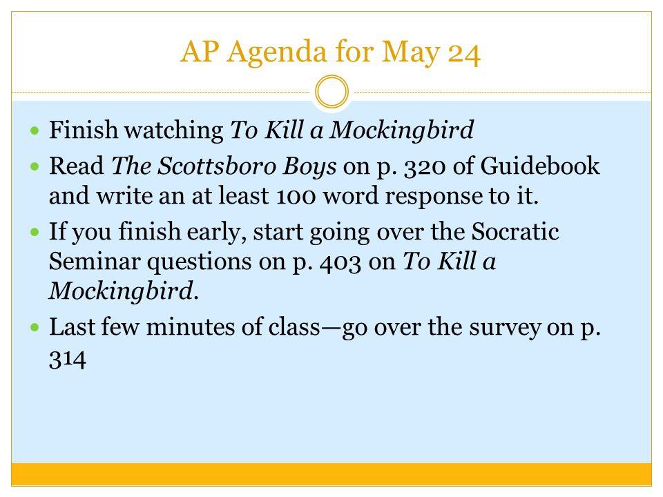 AP Agenda for May 24 Finish watching To Kill a Mockingbird Read The Scottsboro Boys on p.