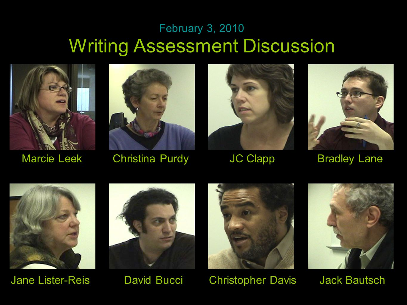 Time to talk Writing Assessment Discussion February 3, 2010