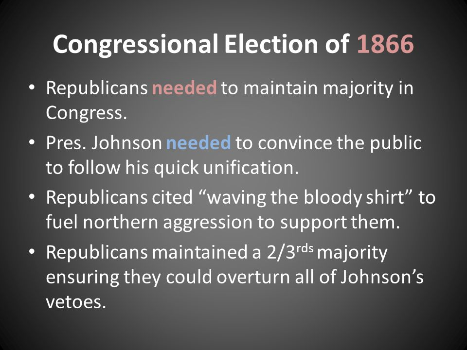 Congressional Election of 1866 Republicans needed to maintain majority in Congress.