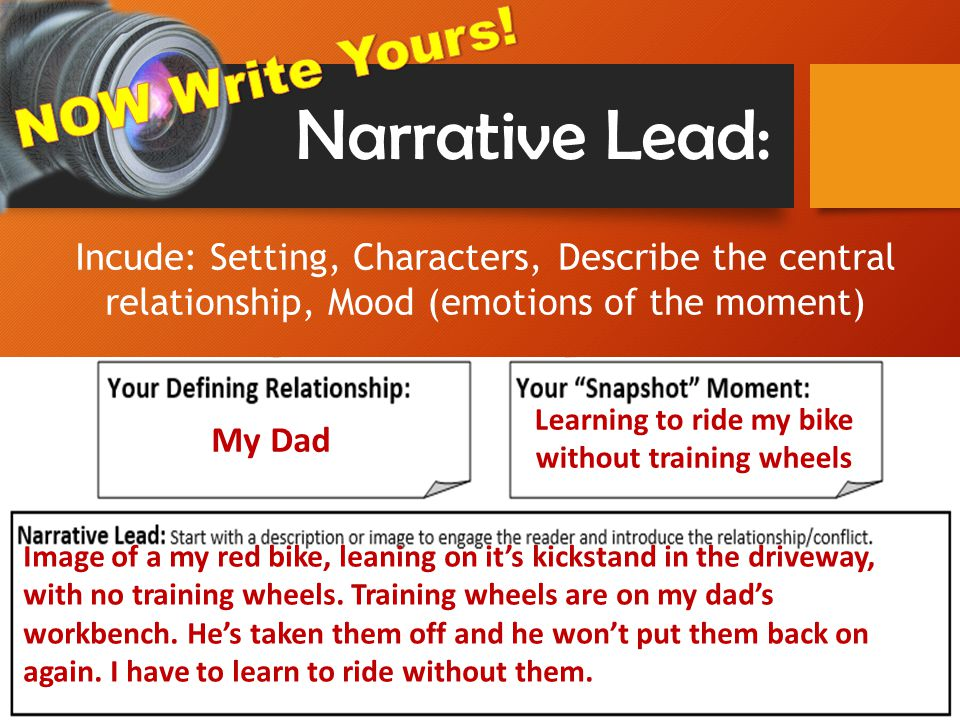 Narrative Lead: My Dad Learning to ride my bike without training wheels Image of a my red bike, leaning on it's kickstand in the driveway, with no training wheels.