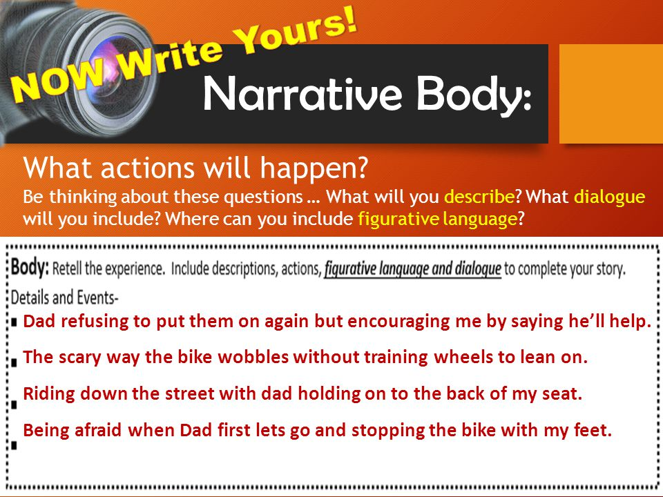 Narrative Body: Dad refusing to put them on again but encouraging me by saying he'll help.
