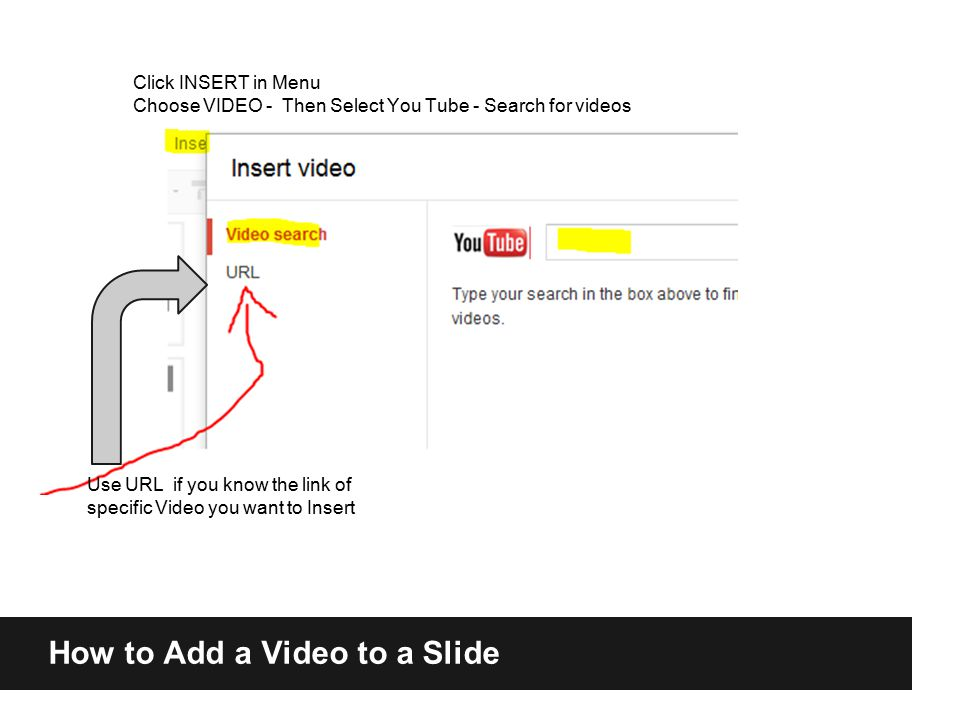 How to Add a Video to a Slide Use URL if you know the link of specific Video you want to Insert Click INSERT in Menu Choose VIDEO - Then Select You Tube - Search for videos