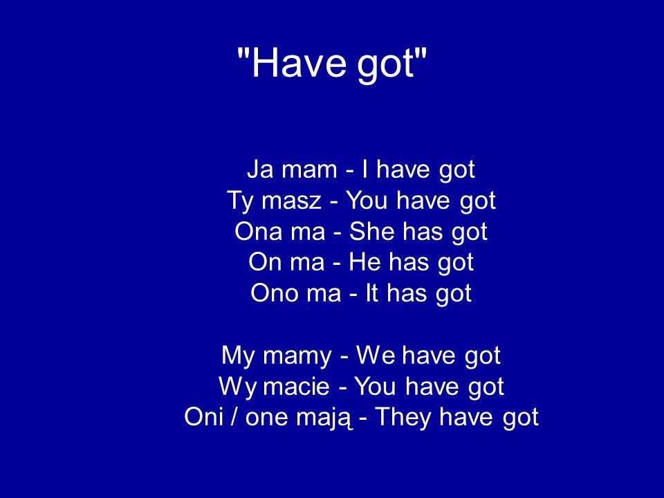 Have got Czy ja mam.- Have I got. Czy ty masz. - Have you got.
