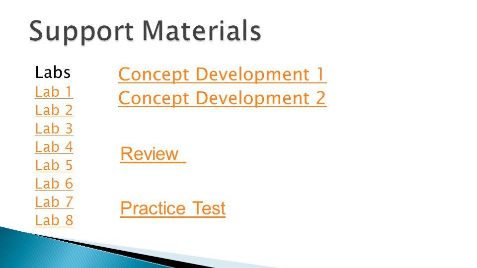 Labs Lab 1 Lab 2 Lab 3 Lab 4 Lab 5 Lab 6 Lab 7 Lab 8 Concept Development 1 Concept Development 2 Review Practice Test