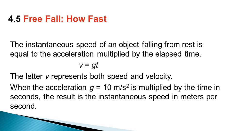 The instantaneous speed of an object falling from rest is equal to the acceleration multiplied by the elapsed time.