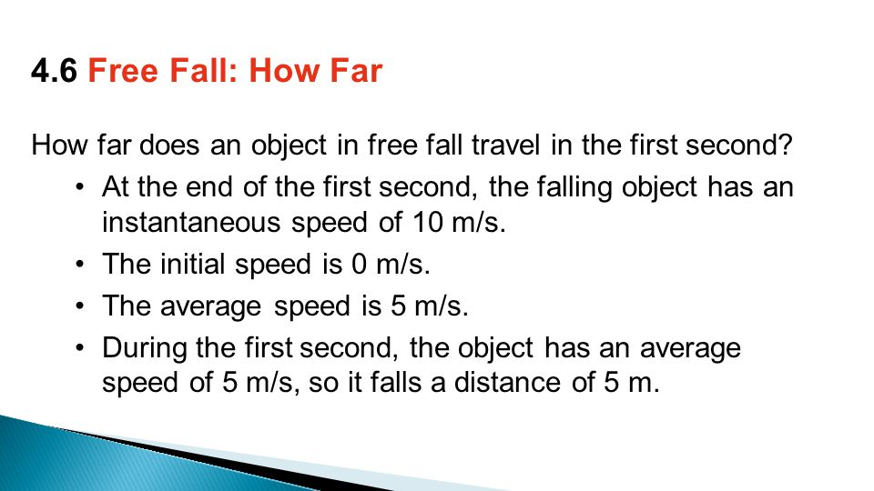 How far does an object in free fall travel in the first second.