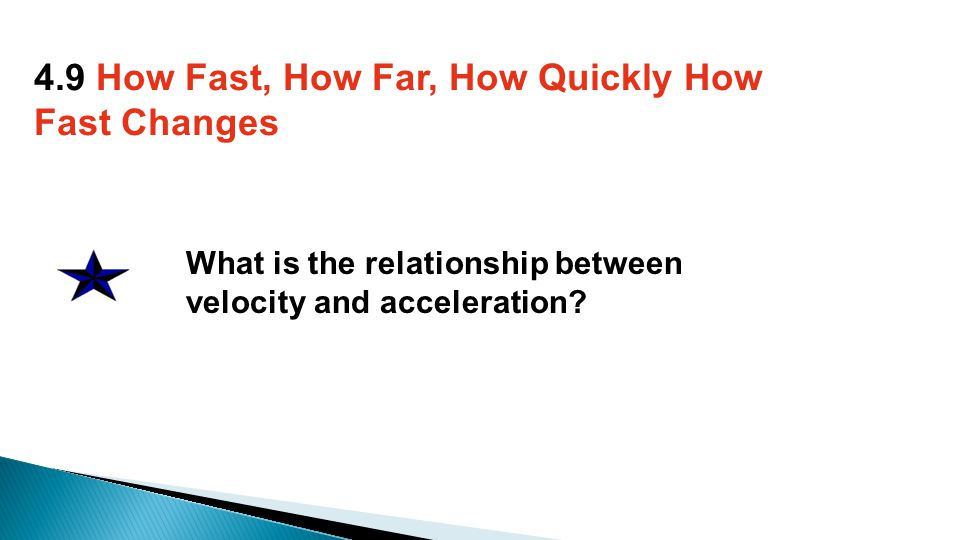 What is the relationship between velocity and acceleration.