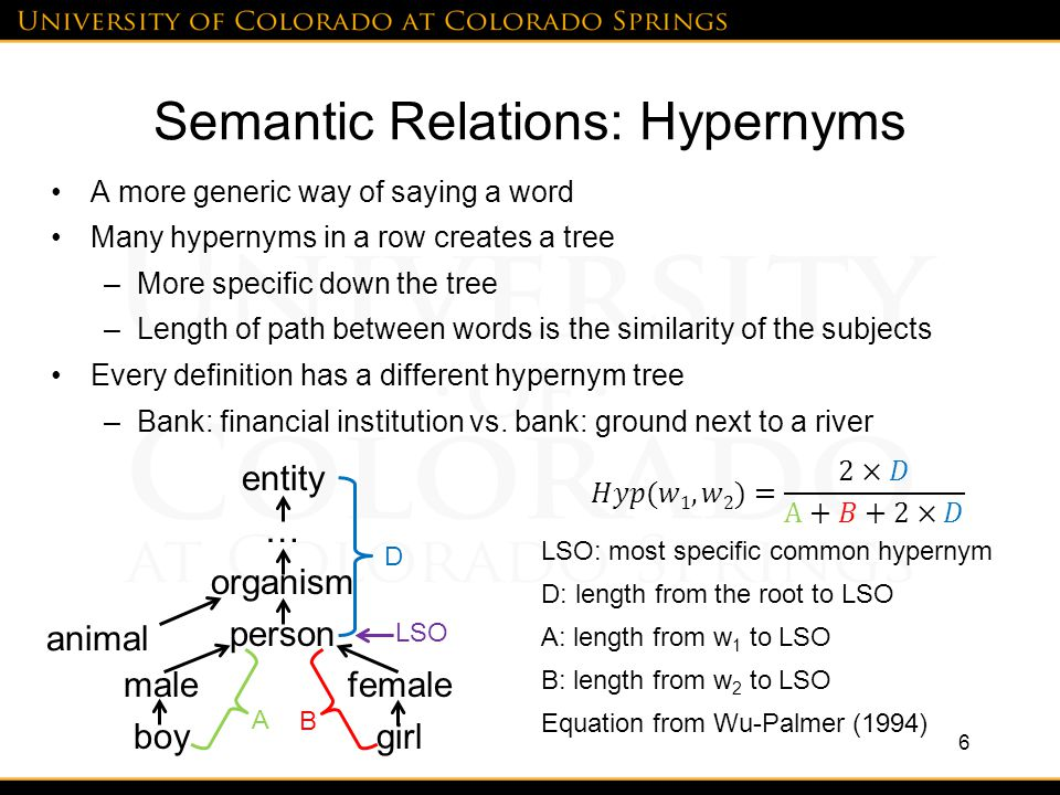Semantic Relations: Hypernyms A more generic way of saying a word Many hypernyms in a row creates a tree –More specific down the tree –Length of path