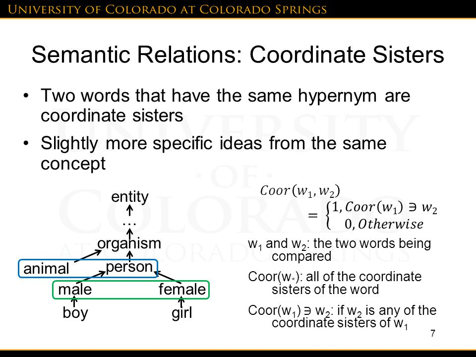 Semantic Relations: Coordinate Sisters Two words that have the same hypernym are coordinate sisters Slightly more specific ideas from the same concept 7 entity … organism person male female boy girl animal