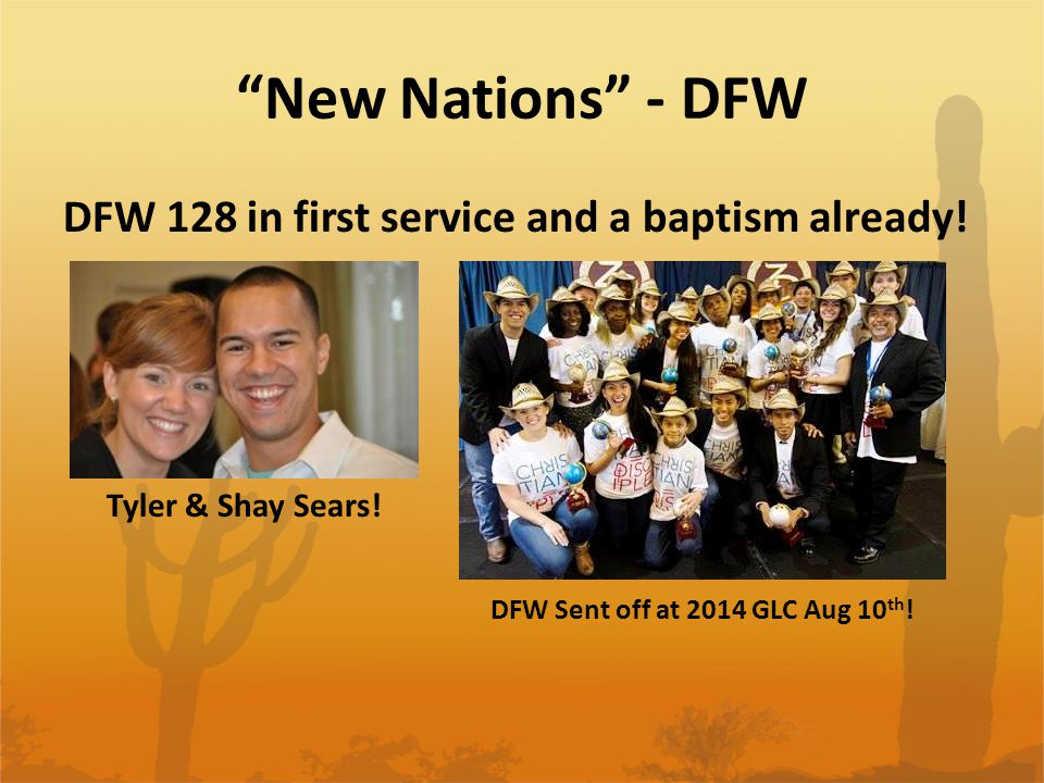 DFW 128 in first service and a baptism already. New Nations - DFW Tyler & Shay Sears.