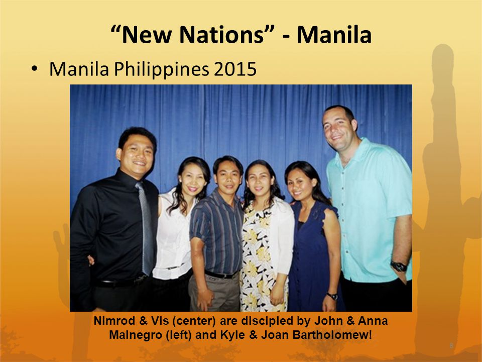 New Nations - Manila Manila Philippines 2015 8 Nimrod & Vis (center) are discipled by John & Anna Malnegro (left) and Kyle & Joan Bartholomew!