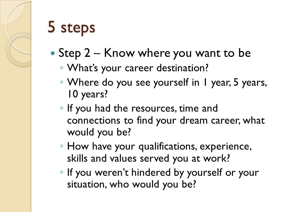 Step 3 – Know what it will take to get there (aka 'reality testing') ◦ Are you prepared to make changes and sacrifices if you have to.