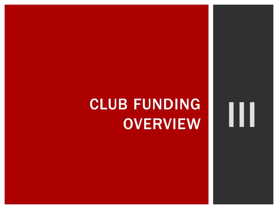 III CLUB FUNDING OVERVIEW