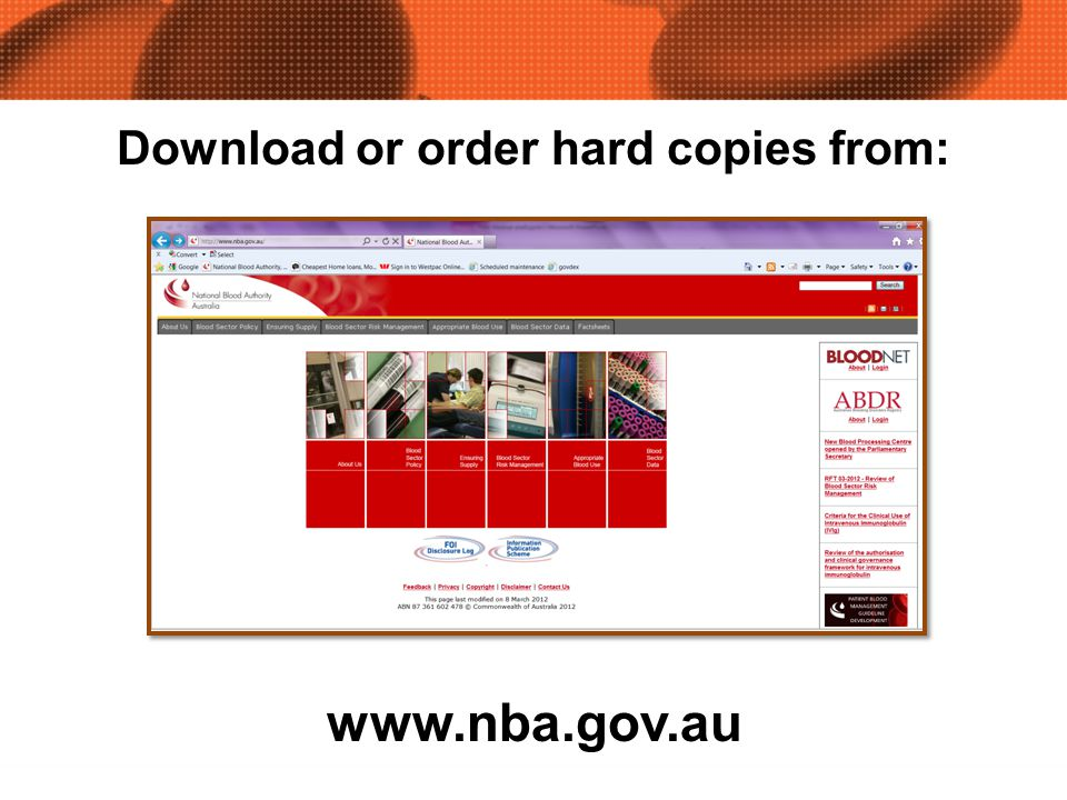 www.nba.gov.au Download or order hard copies from: