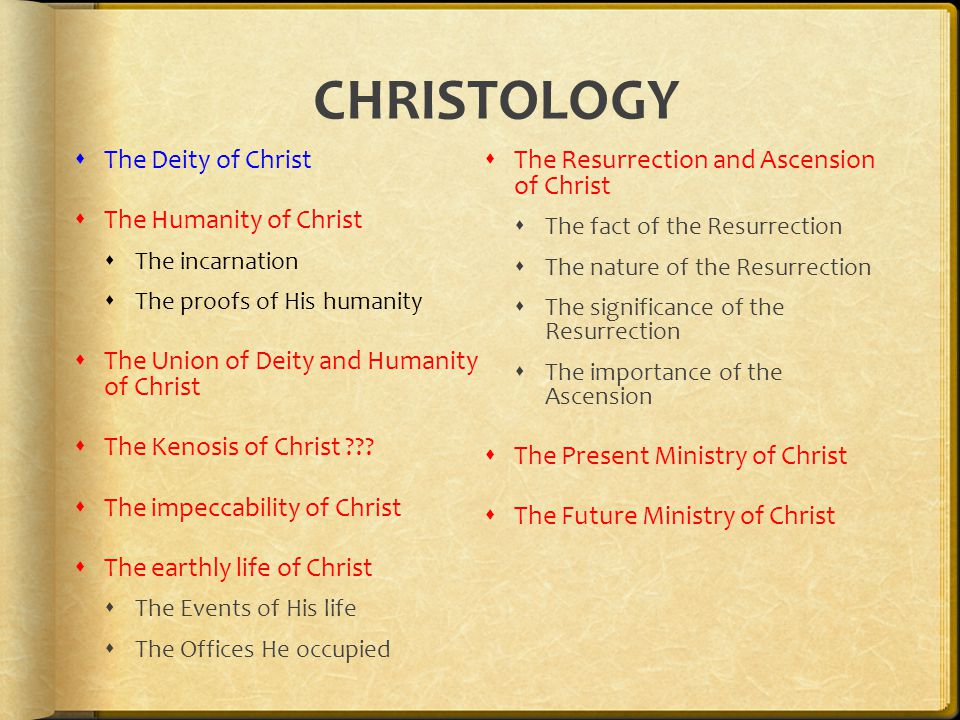 CHRISTOLOGY  The Deity of Christ  The Humanity of Christ  The incarnation  The proofs of His humanity  The Union of Deity and Humanity of Christ  The Kenosis of Christ ??.