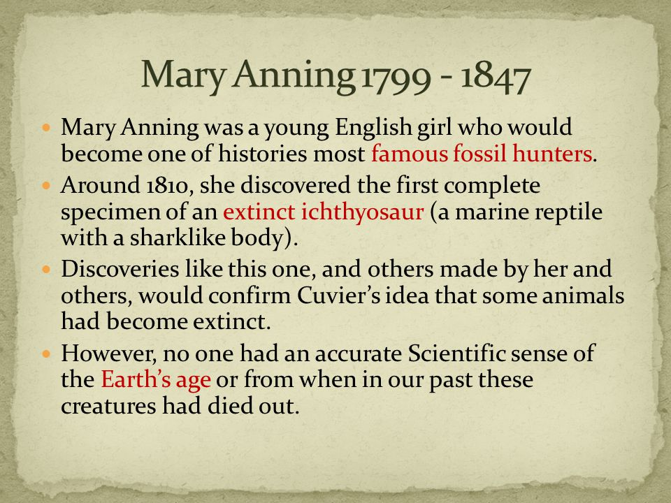 Mary Anning was a young English girl who would become one of histories most famous fossil hunters.