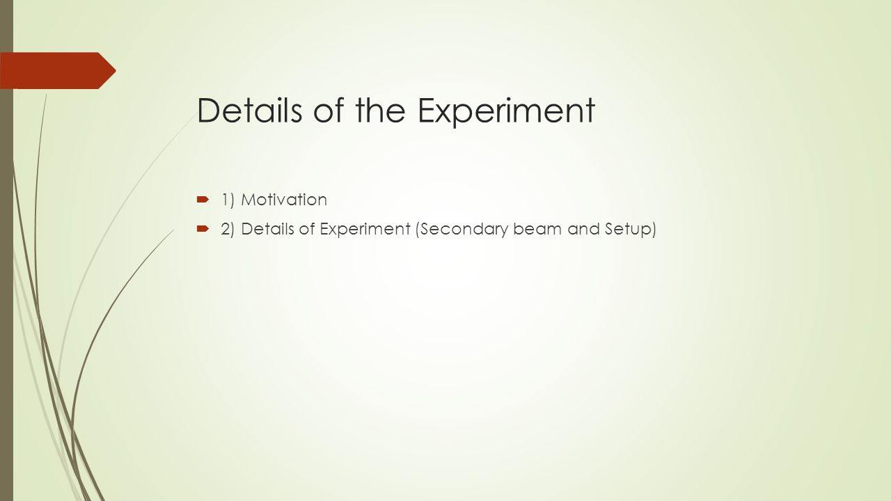 Details of the Experiment  1) Motivation  2) Details of Experiment (Secondary beam and Setup)