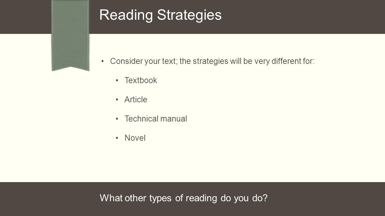 Consider your text; the strategies will be very different for: Textbook Article Technical manual Novel Reading Strategies What other types of reading