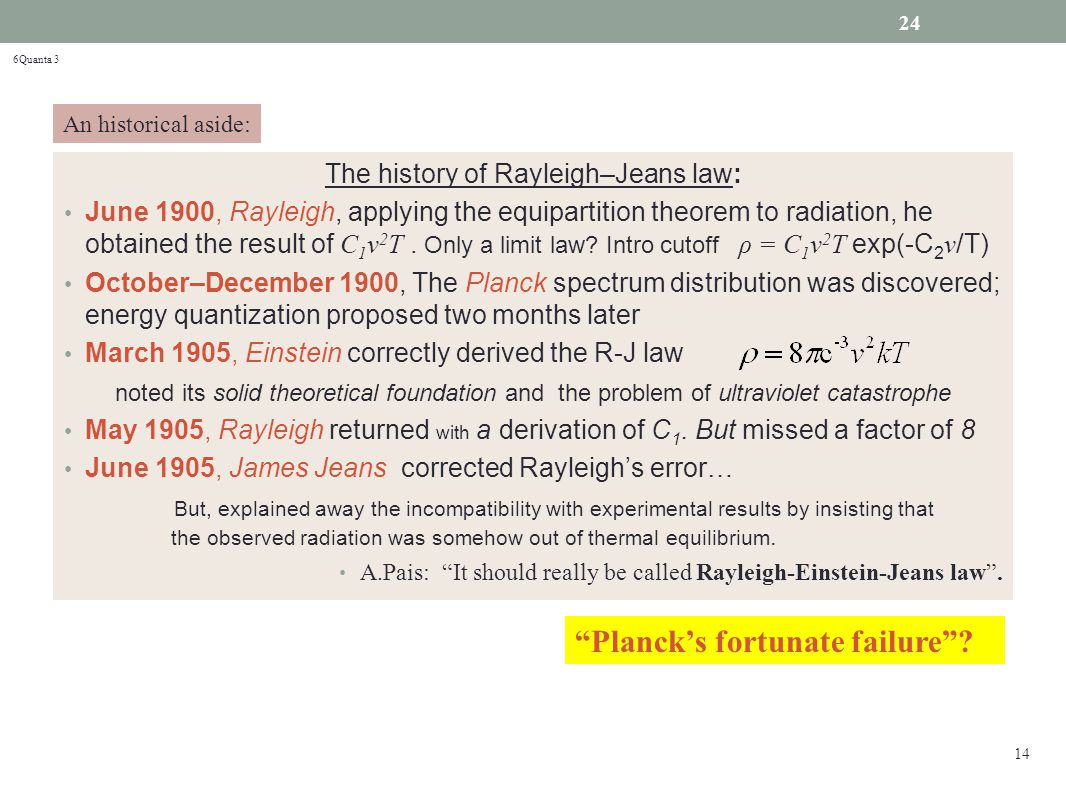The history of Rayleigh–Jeans law: June 1900, Rayleigh, applying the equipartition theorem to radiation, he obtained the result of C 1 ν 2 T.