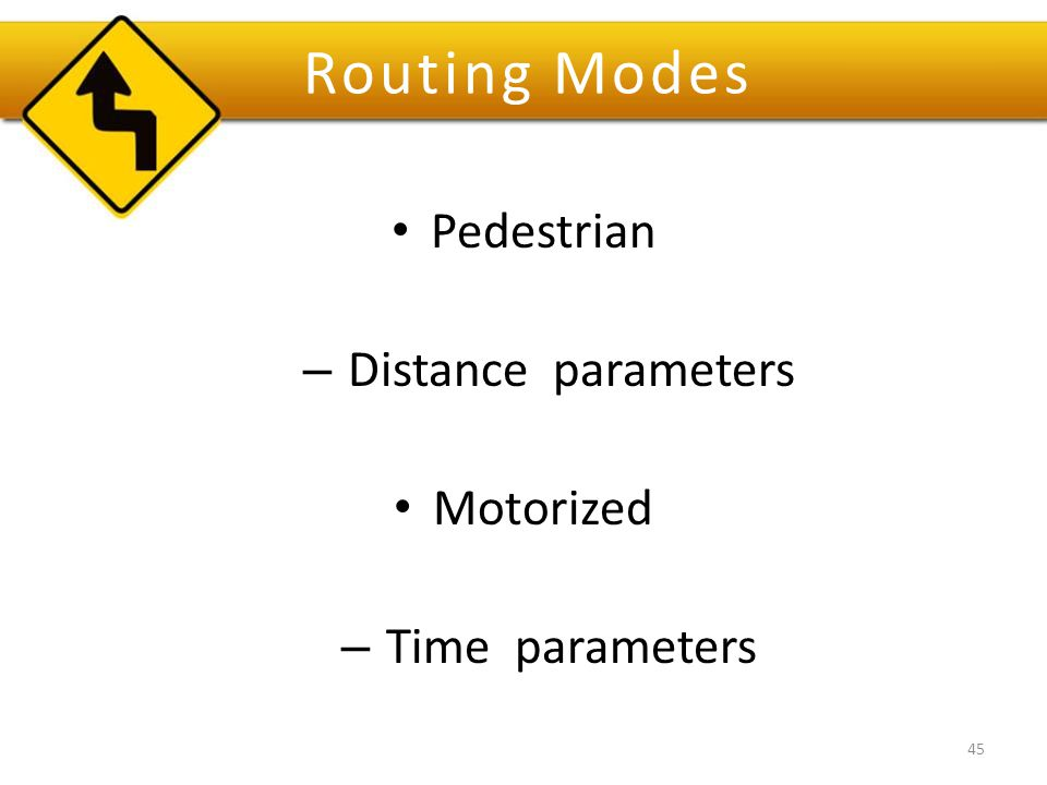 Routing Modes Pedestrian – Distance parameters Motorized – Time parameters 45