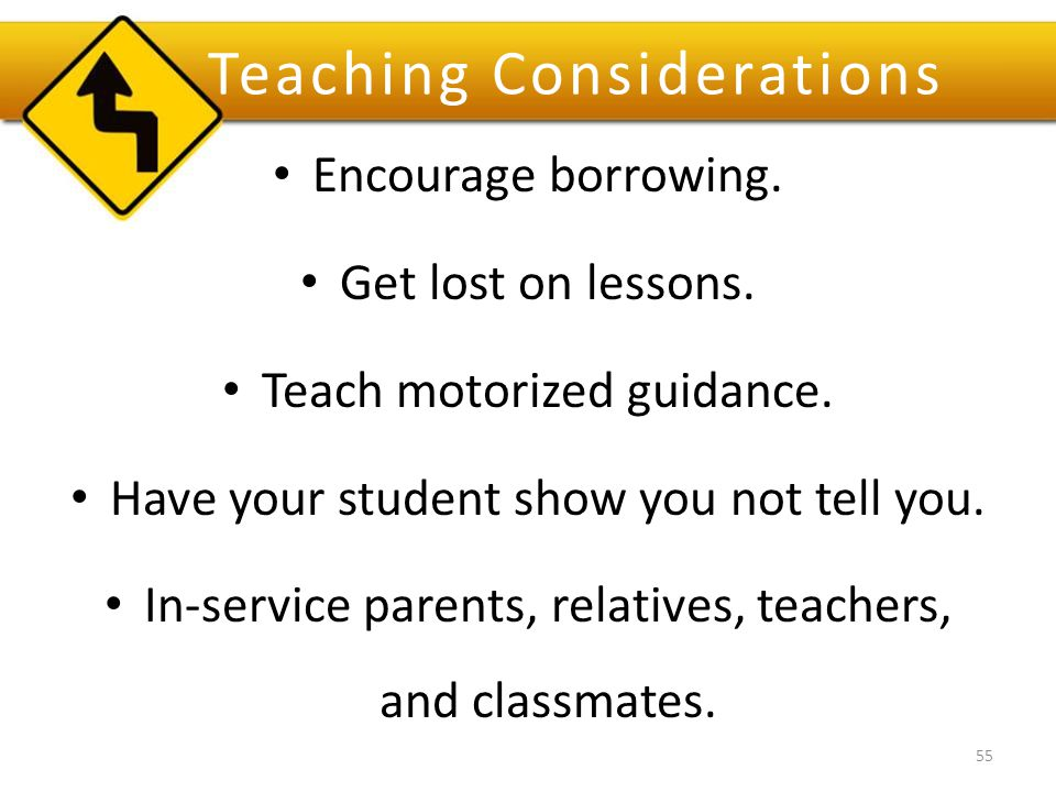 Teaching Considerations Encourage borrowing. Get lost on lessons.