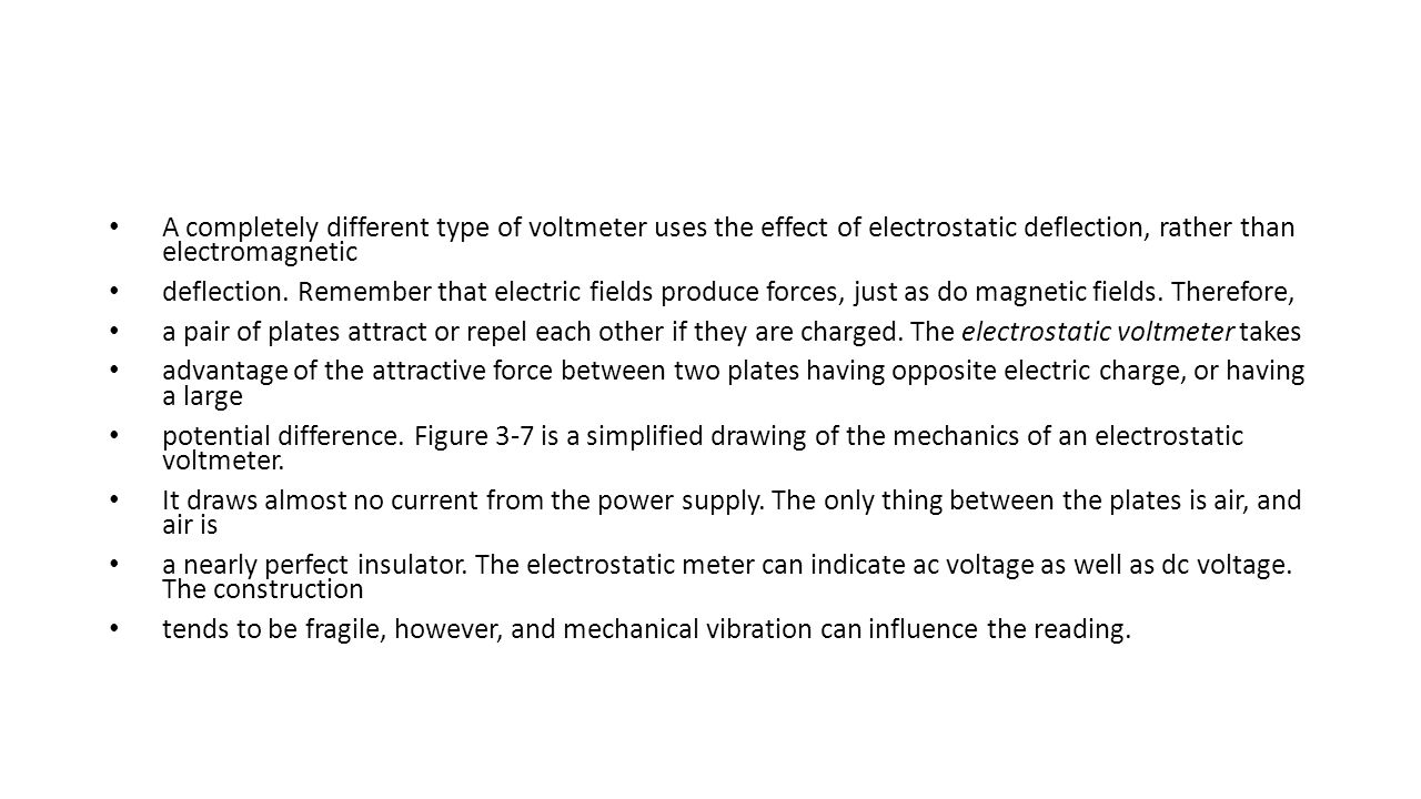 A completely different type of voltmeter uses the effect of electrostatic deflection, rather than electromagnetic deflection. Remember that electric f