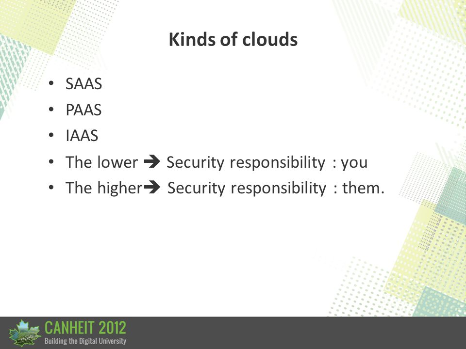 Kinds of clouds SAAS Software as a service EG GoogleDocs, email – Very rapid deployment. – No maintenance/upgrades/patching. Just about everything ima