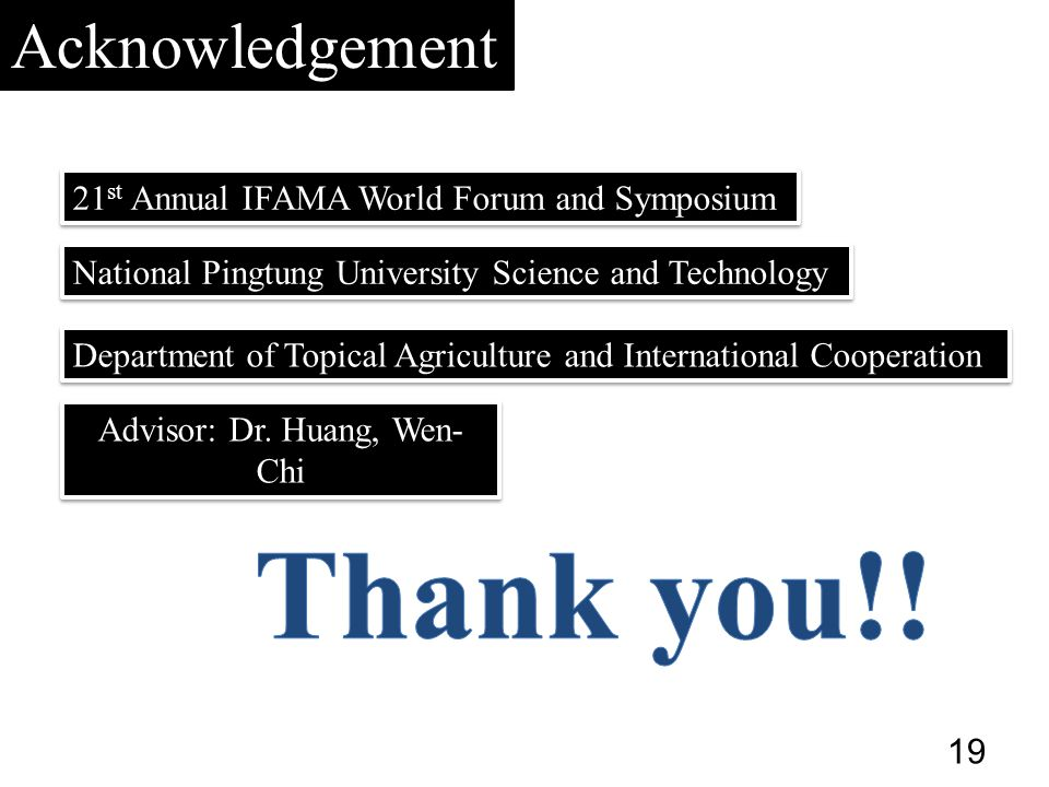 Advisor: Dr. Huang, Wen- Chi Acknowledgement National Pingtung University Science and Technology Department of Topical Agriculture and International C