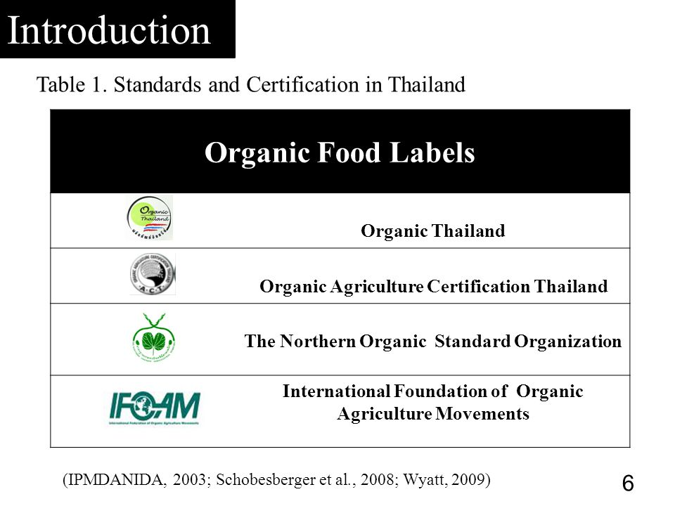 Organic Food Labels Organic Thailand Organic Agriculture Certification Thailand The Northern Organic Standard Organization International Foundation of Organic Agriculture Movements Table 1.