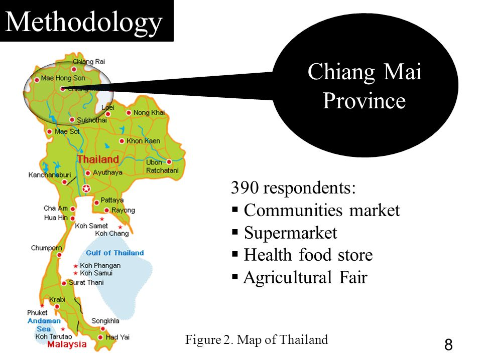Methodology Chiang Mai Province 390 respondents:  Communities market  Supermarket  Health food store  Agricultural Fair 8 Figure 2.