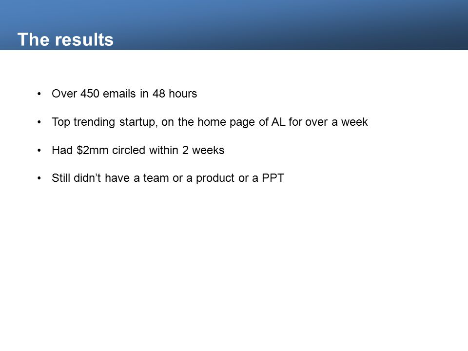 The results Over 450 emails in 48 hours Top trending startup, on the home page of AL for over a week Had $2mm circled within 2 weeks Still didn't have a team or a product or a PPT