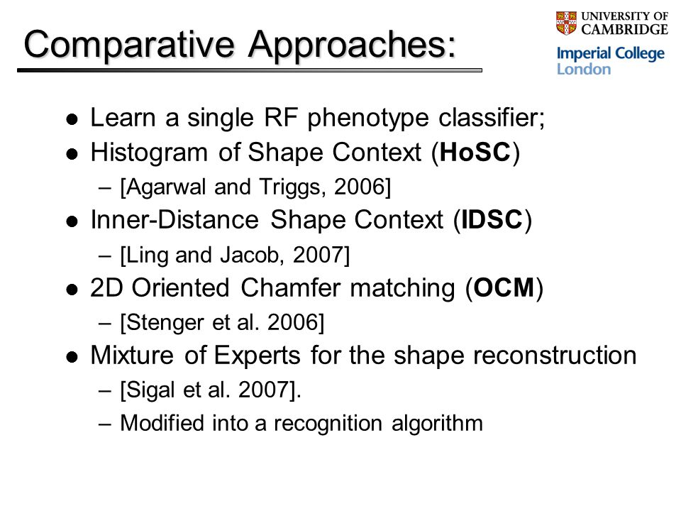 Comparative Approaches: Learn a single RF phenotype classifier; Histogram of Shape Context (HoSC) –[Agarwal and Triggs, 2006] Inner-Distance Shape Context (IDSC) –[Ling and Jacob, 2007] 2D Oriented Chamfer matching (OCM) –[Stenger et al.