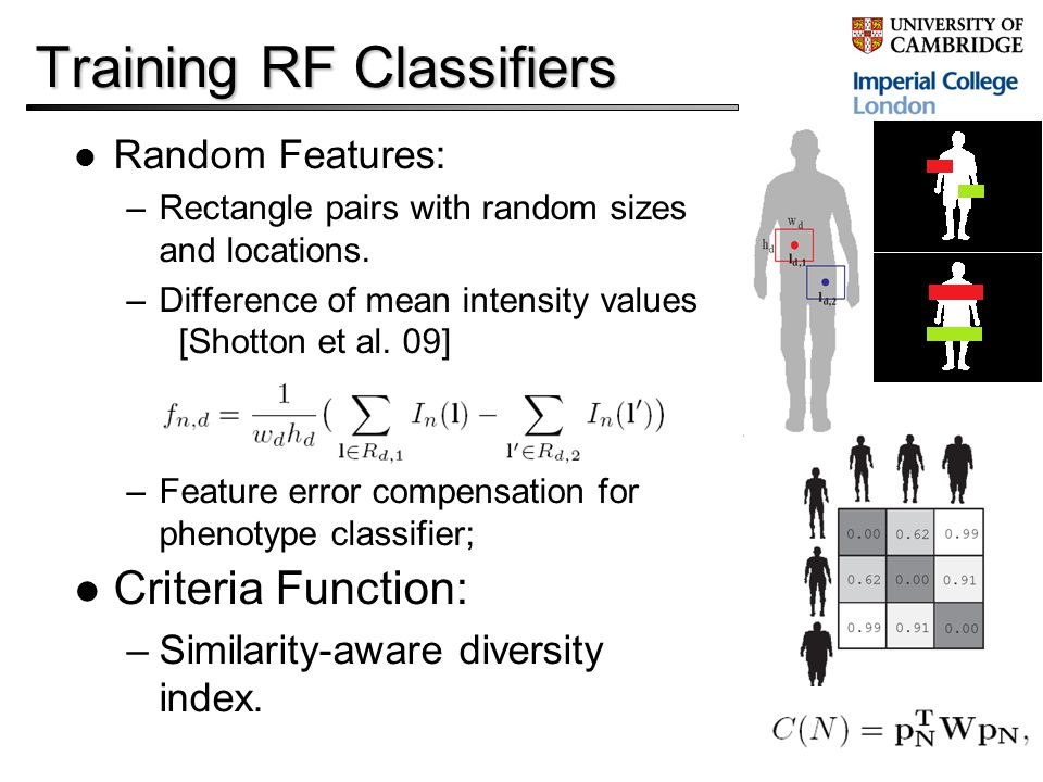Training RF Classifiers Random Features: –Rectangle pairs with random sizes and locations.