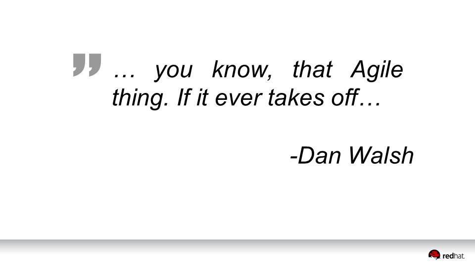 … you know, that Agile thing. If it ever takes off… -Dan Walsh