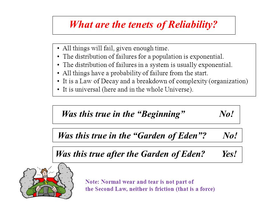 What are the tenets of Reliability. All things will fail, given enough time.