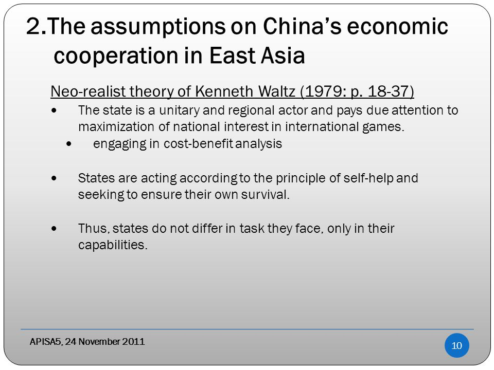 2.The assumptions on China's economic cooperation in East Asia Neo-realist theory of Kenneth Waltz (1979: p.